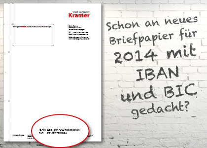 IBAN BIC Briefpapier Briefbogen